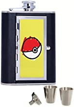 I Choose You Pokemon Ball Custom Personalized Printed 6oz Black Faux Leather Hip Flask
