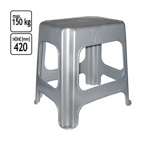 Hocker-Tritthocker-Schemel-Belastung-max-150-kg-stapelbar-Haushaltshilfe-grau