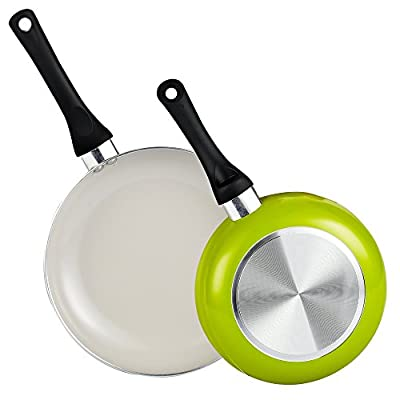 "Cook N Home 2 Piece Nonstick Ceramic Coating 8"" and 9.5"" Saute Fry Pan/Skillet Pan Cookware set, Green"