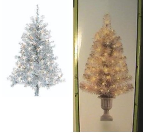 2 FEET SILVER PRELIT TREE IN URN CHRISTMAS DECORATION