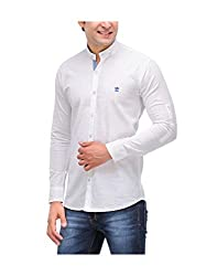 Nexq Men's Slim Fit Linen Casual Shirt (N51145_White_Small)