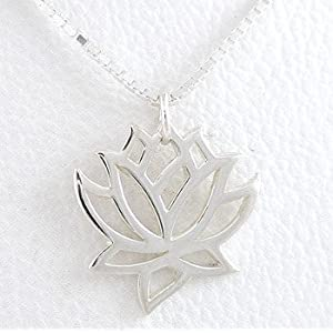 cut out design lotus flower sterling silver pendant