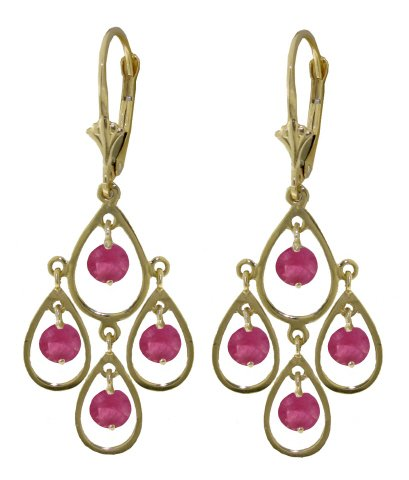 14k Solid Gold drop style Chandelier Earrings with Pink Topaz