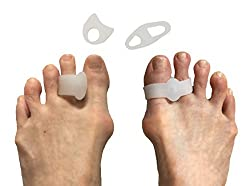 Toe Separators and Toe Spreaders Variety Pack - Ultimate Bunion Pain Relief Set with 2 Gel Toe Separators & 2 Toe Straighteners with Pads - Highly Effective Bunion Corrector Treatment Solution (White)