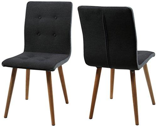 AC-Design-Furniture-H000014094-Esszimmerstuhl-2-er-Set-Charlotte-SitzRcken-Seiten-hellgrau-Knpfen-und-Stoff-dunkelgrau