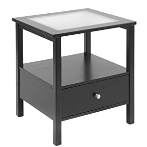 Bay Shore Collection End Table with Glass Insert Top and Drawer, Black