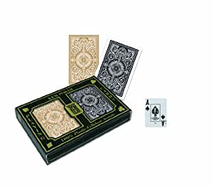 KEM Arrow Black and Gold Bridge Size Jumbo Index Playing Cards