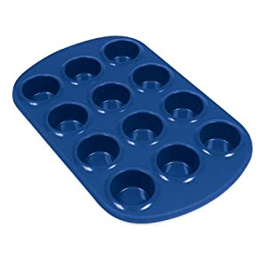 Silicone Solutions 12 cup Mini Muffin Pan, Blue