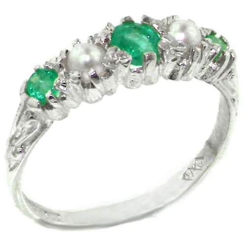 英国製 925 シルバー 天然 エメラルド 真珠 レディース 装飾 デザイン ハーフエタニティ リング 指輪 サイズ 6.5 各種サイズあり