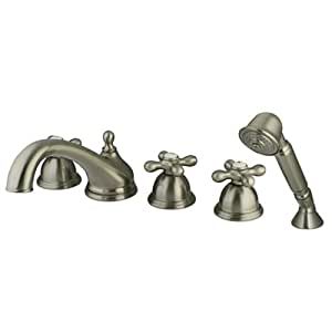 Roman Tub Faucet And Diverter Hand Shower Finish Satin Nickel