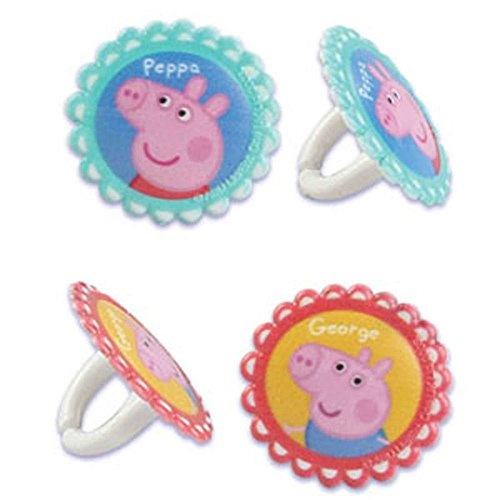 12 Peppa Pig Rings Cupcake Toppers Cake Pop Decorations Party Favors