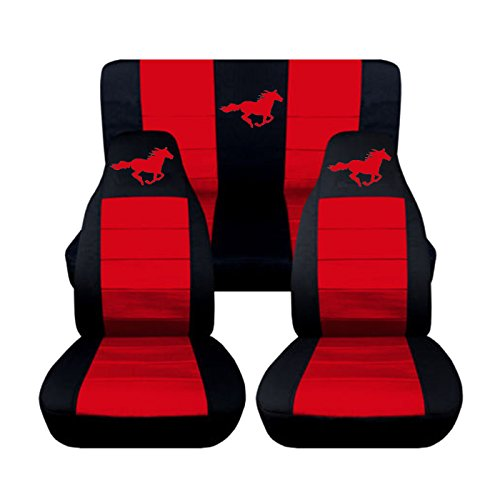 1994 to 2004 Ford Mustang Front and Rear Running Horse Seat Covers Option for a Coupe and Convertible (Convertible, Black and Red) (Mustang Seat Covers compare prices)