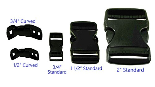 Quick Side Release Snap Buckles For Nylon Webbing Canvas Straps Paracord Multiple Size, Style & Qty (4 Sets, 1/2