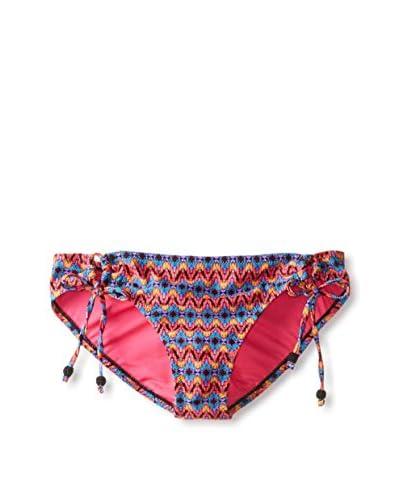 Jessica Simpson Women's Folkloric String Side Tie Bikini Bottom  [Black Multi]