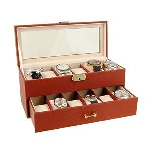 Estuche Relojero para 12 relojes en color cuero con visor de cristal