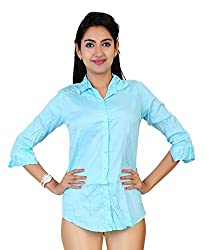 Carrel Imported Cotton Fabric 3/4th Sleeves Women Solid Formal Shirt