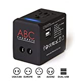 ABC Products® Universal International Foreign Tourist Holiday Multi Travel Adapter Adaptor Convertor with Dual (2) USB Port Plug for 150 + Countries - UK to World Wide use and reversible World Wide Plugs to UK