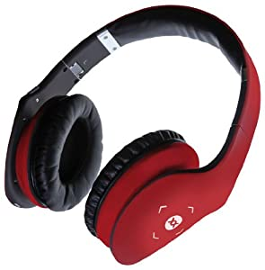 Sonixx X-Touch Wireless Bluetooth Headphones / Headset with Swipe Control, Mic & Remote for all Smartphones (iPhone / iPad / Android / Windows / Samsung Galaxy / HTC etc.) - Hard Case Included - 3 YEAR WARRANTY (Red)
