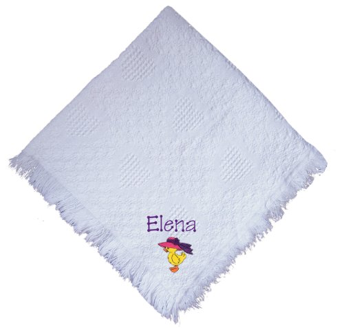 Duck With Hat White 100% Cotton Custom Embroidered Personalized Baby Blanket Navy Thread front-1063636