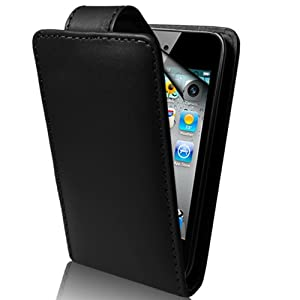 Supergets® Apple Ipod Touch 4G 4TH 5 5TH Generation Black PU Leather Flip Case, Touch Screen Stylus And LCD Screen Protector