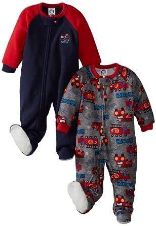 Gerber Baby-Boys Infant 2 Pack Blanket Sleepers, Fire Trucks, 18 Months