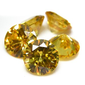 Round 7mm Yellow CZ Cubic Zirconia Loose Stone Lot of 100 Pieces