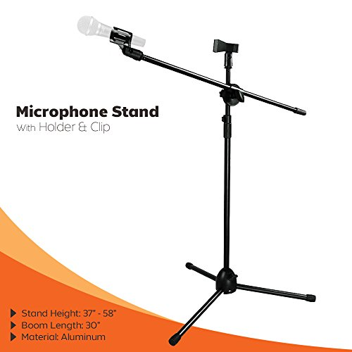 PARTYSAVING Microphone Stand Clip 360-degree Rotating Adjustable Boom Stand Tripod W/ Microphone Holder and Clip APL1156 (Microphone Stand Boom compare prices)