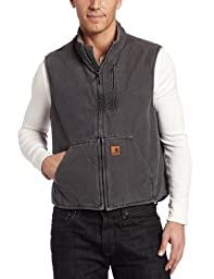 Carhartt Men\'s Big & Tall Sherpa Lined Sandstone Mock Neck Vest V33,Gravel,Large Tall