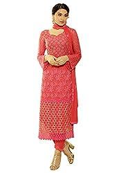 Isha Enterprise Women's Pure Chiffon Dress Material(KFD516-1959_Red)