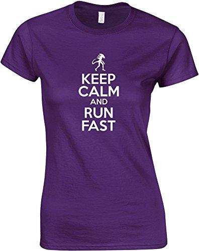 Keep Calm And Run Fast, Ladies Printed T-Shirt - Purple/White S = 2-4