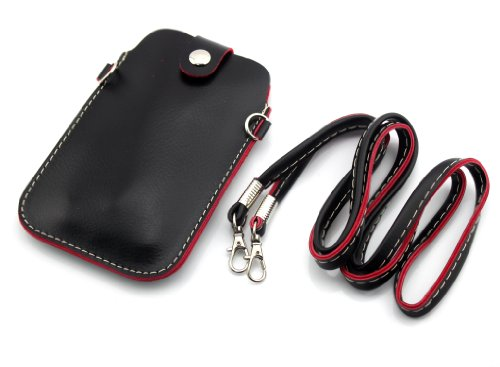 Big Dragonfly Universal Multifunctional Pu Leather Mini Mobile Phone Bag Pouch/Purse With Shoulder Strap And Metal Button For Iphone5 5S 5C Iphone4 4S Samsung Galaxy Note2 Note3 S4 S3 Htc And Other Mobile Phone (Black) front-893688