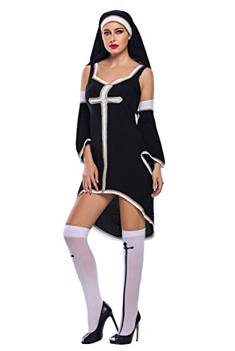 [JE Womens Sexy Sinful Nun Halloween Costumes Cosplay Dress (L)] (Naughty Nun Halloween Costumes)