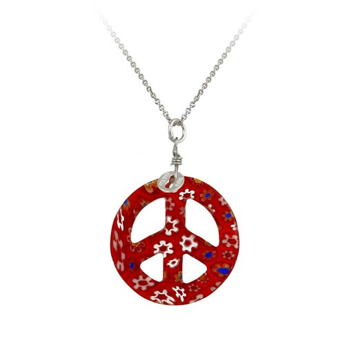 Sterling Silver Rolo Chain with Hand -Blown Red Glass Peace-Sign Pendant Necklace , 18