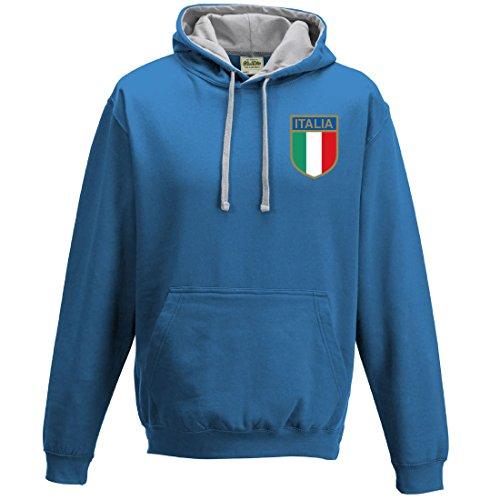 Rugby-Felpa con cappuccio da uomo, nazionale italiana stile retrò SAPPHIRE-AND-HEATHER-GREY