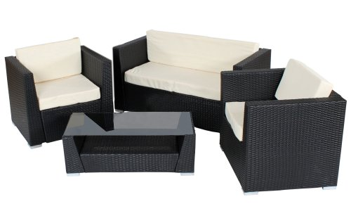 tectake hochwertige alu luxus lounge set poly rattan sitzgruppe gartenm bel schwarz g nstig. Black Bedroom Furniture Sets. Home Design Ideas