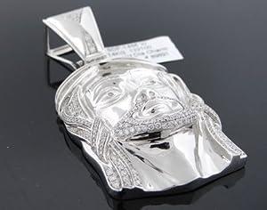 Designer Hip Hop Men's Jesus Head Charm Pendant 14k White Gold 3.50ct Diamond SDP-1466W