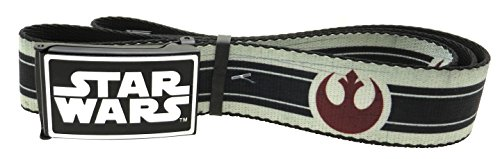 "Star Wars Web Belt 1.5"" Wide Alliance Logo/Stripe Vintage White/Black/Dark Red"
