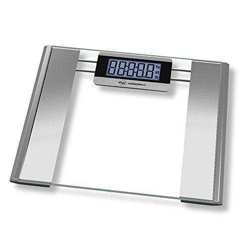 Woodsam Ultra Wide Digital Body Weight Bathroom Scale , Tempered Glass, 400lb Capacity Clear