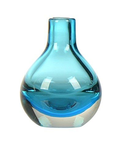 CASAMOTION Hand Blown Art Glass Bud Vase, Gift Boxed, Blue