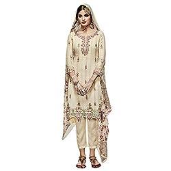 Bhelpuri Women Cream Georgette Semi-stitched Salwar Kameez