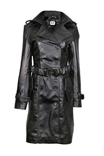 Sputer Isabelline Black Pu Faux Womens Leather Coat Jacket, XXX-Large, Black