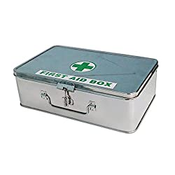 IndoSurgicals All Purpose First Aid kit, Stainless Steel Box with 21 Items