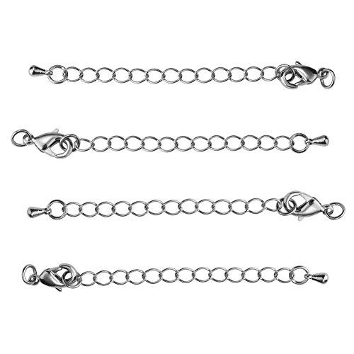 pandahall-elite-5-x-chiusure-ottone-chiusre-lobster-clasps-con-catena-e-goccia-chiusure-per-braccial