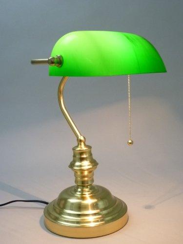Tischleuchte-Bankers-Lamp-mit-Zugschalter-Gestell-messing-Schirm-grn-Schreibtischlampe-Bankerslamp