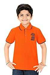 Triki Boys Plain Cotton Orange T-Shirts