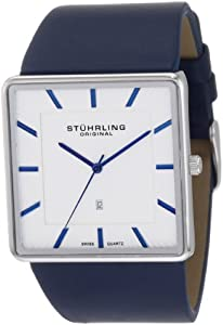 Stuhrling Original Men's 342.3315C2 Classic Ascot Saratoga Swiss Quartz Ultra Slim Date Blue Leather Strap Watch