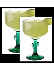 Margarita Glasses W Cactus Green Decor Stem Lot Of Two 16 oz New by Greenbriar