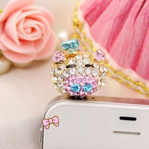 Brandbuy(Tm) Earphone Jack Accessory 1Pcs Of Smiley Pig Crystal Pearls Cell Charms Dust Plug Ear Jack For Audio Headphone / Iphone 4 4S / Samsung Galaxy S2 S3 Note I9220 / Htc / Sony / Nokia / Motorola / Lg / Lenovo / Ipad / Ipod Touch / Other 3.5Mm Ear J