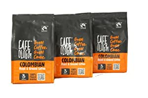 Cafeology Fairtrade Colombian Fresh Ground Coffee 227 g (Pack of 3)
