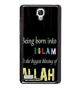 Fuson Premium 2D Back Case Cover Islam With Black Background Degined For Xiaomi Redmi Note::Xiaomi Redmi Note 4G